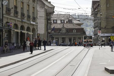Bern, Switzerland - April 23, 2019: Tram rails are a visible element of public transport infrastructure in this city
