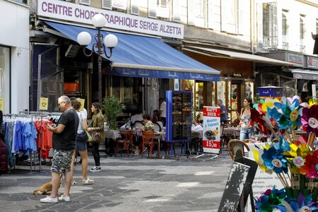 Nice, France - September 20, 2018: Pedestrian street. There are shops and restaurants, as well as several people who can be seen here