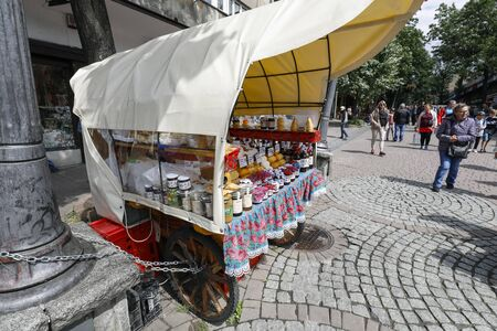 Zakopane, Poland - July 10, 2019: The movable sales stand on wheels as seen on Krupowki Str. These small shops are known for selling regional products and famous cheeses under the local name oscypek.