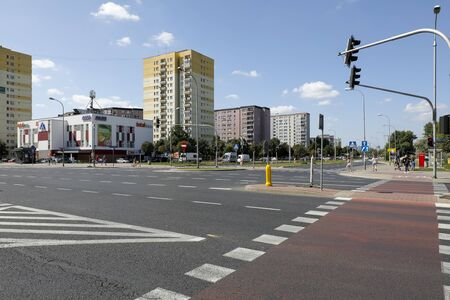 Warsaw, Poland - August 23, 2019: Wide streets and blocks of flats in a housing estate called Goclaw. There are residential buildings here that have been built for many families.