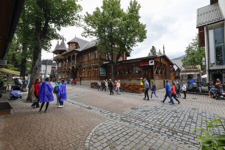 Zakopane, Poland - July 11, 2019: The wooden villa dates back to 1887 and is located on Krupowki Street. This building, locally called Villa Poraj, was previously known as Pension Marya.