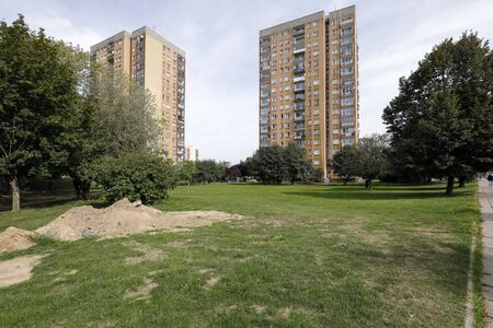 Warsaw, Poland - September 15, 2019: Large block flats of a housing estate called Goclaw. There are residential buildings here that have been built for many families. Editöryel