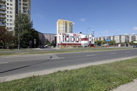 Warsaw, Poland - August 23, 2019: This is a housing estate called Goclaw. There are residential buildings here that have been built for many families.