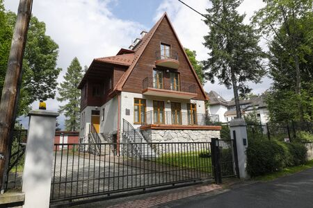 Zakopane, Poland - July 11, 2019: There is a villa with a local name of Strzelista dating back to 1929. It is a building that we can see after the recent modernization.