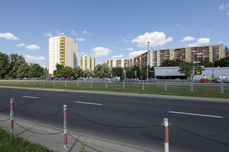 Warsaw, Poland - August 23, 2019: On a sunny day there is a general view of the housing estate which is locally called Goclaw. There are residential buildings here that have been built for many families.