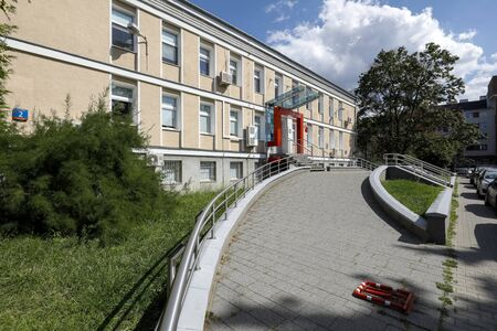 Warsaw, Poland - August 11, 2019: There is a building that houses blood donation station which is located in the district named Saska Kepa