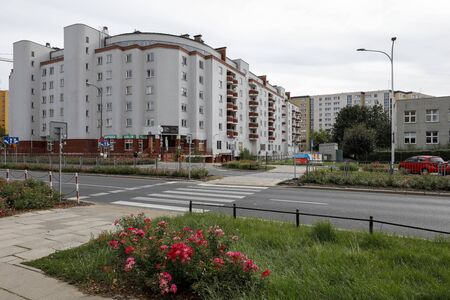 Warsaw, Poland - September 15, 2019: There are residential buildings here that have been built for many families. This is a housing estate called Goclaw. Editöryel