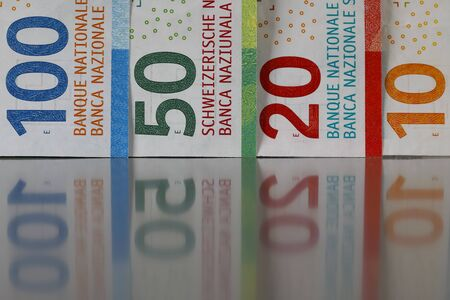 Here are four of six new Swiss banknotes of various denominations. These new banknotes are the eighth series of banknotes which were introduced between 2016 and 2019.