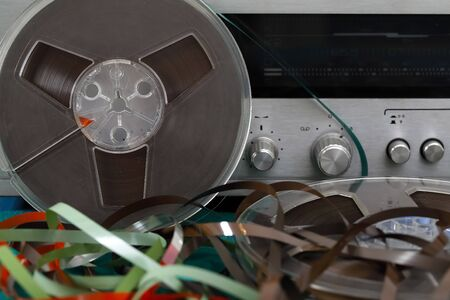 Reels of audio tapes (reel to reel) have been collected. There is analog music equipment that can be seen here as well.