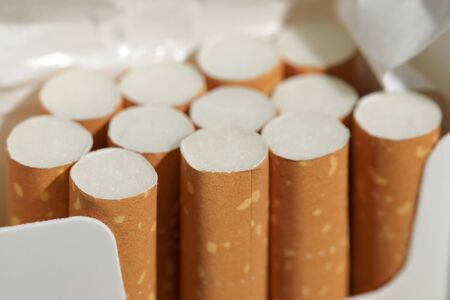 Several cigarettes in an already incomplete pack. These are filter cigarettes.