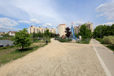 Warsaw, Poland - May 15, 2020: A part of housing estate known locally as Goclaw and the outdoor playground which is taken out of use to limit the spread of coronavirus during the outbreak.