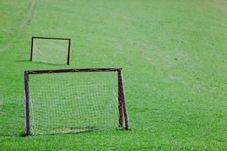 Amateur playing field for village football. Green meadow with two goals with net.