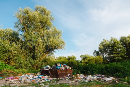 Junkyard in then nature. Containers full of trash - environmental pollution. Consequence of no separation.