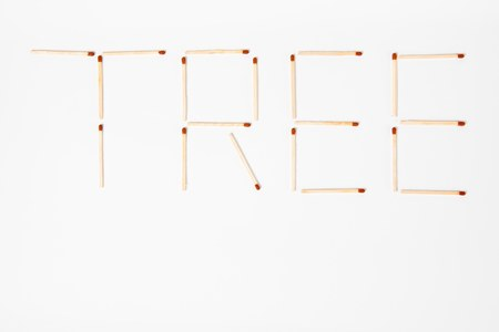 Inscription TREE written with wooden matches - save the planet - top view