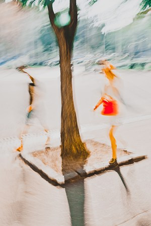 Two people walking in city, tree is dividing them - Abstract Expressionism Impressionism Photography Dreamy In motion
