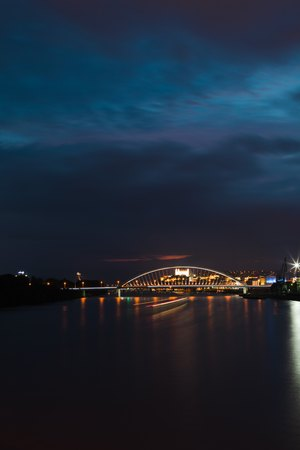 Night view on Bratislava the capital of Slovakia on Danube River. Lighted Castle.