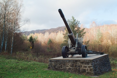 Memorial on Dukelsky Priesmyk in Slovakia, cannon form world war 2 symbol of liberation.
