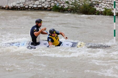 Bratislava - Cunovo, Slovakia - August 13-15 2010: ECA European Canoe Slalom Championships 2010 - double canoe of Hochschorner brothers
