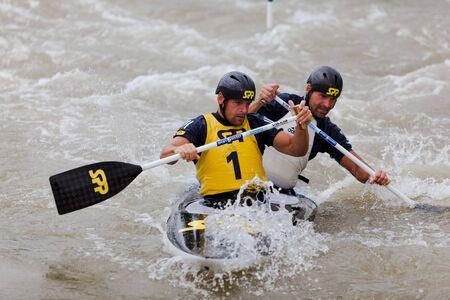Bratislava - Cunovo, Slovakia - August 13-15 2010 : ECA European Canoe Slalom Championships 2010 - double canoe Hochschorner brothers Sajtókép
