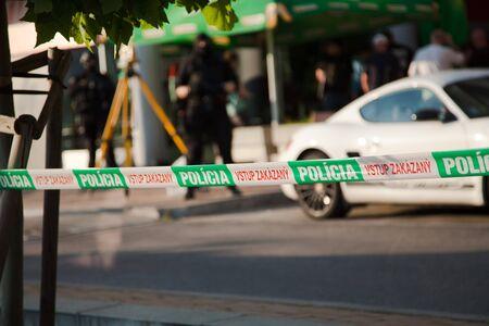 Bratislava, Slovakia, 2nd. Jun, 2016 : Police reconstruction of crime scene, do not enter gap