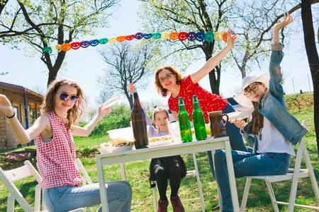 Birthday garden party during summer sunny day - backyard picnic