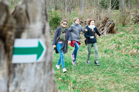 Tourist refreshed steps on walking trail in th forrest - green arrow showing the right direction of the trip