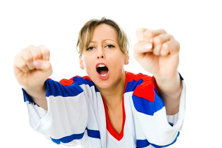 Woman Hockey fan in jersey in national color of Russia cheer, celebrating goal - fists up - white background