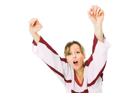 Woman Hockey fan in jersey in national color of Latvia cheer, celebrating goal - jump and rise up hand - white background