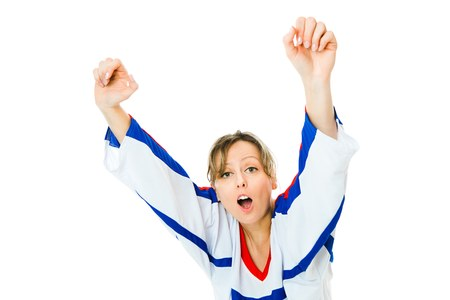 Woman Hockey fan in jersey in national color of Russia cheer, celebrating goal - jump and rise up hand - white background Stock Photo