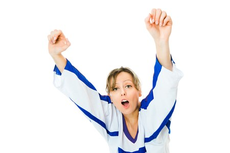 Woman Hockey fan in jersey in national color of Finland cheer, celebrating goal - jump and rise up hand - white background Stock Photo