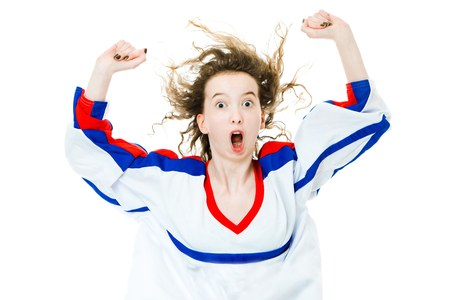 Hockey fan in jersey in national color of France cheer, celebrating goal - great joy of victory - white background