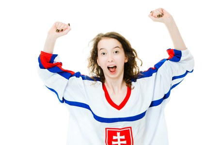 Hockey fan in jersey in national color of Slovakia cheer, celebrating goal - great joy of victory - white background Stock Photo