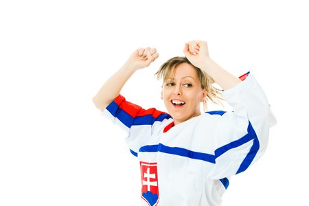 Woman Hockey fan in jersey in national color of Slovakia cheer, celebrating goal - jump and rise up hand - white background