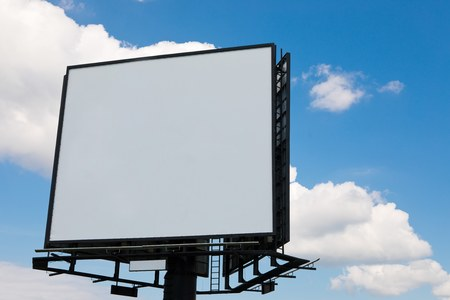 Blank billboard on blue sky background, concept copy space for new advertisement