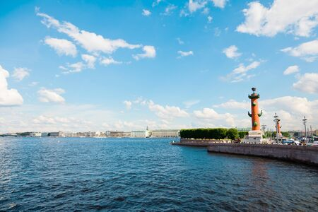 St. Petersburg, Russia - July 7, 2019: Rostral Column, Lighthouse by Neva river