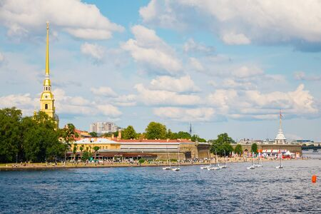 St. Petersburg, Russia - July 7, 2019: View on Hare island, Saints Peter and Paul Cathedral and Fortress