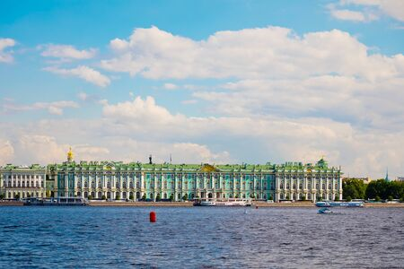 St. Petersburg, Russia - July 7, 2019: Hermitage, Winter place and river Neva in front