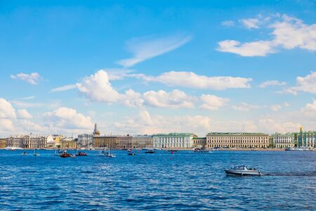 St. Petersburg, Russia - July 7, 2019: Traffic on river Neva