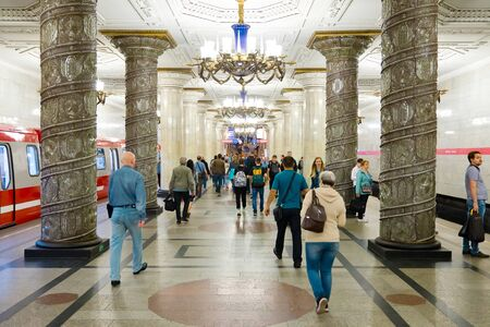 St. Petersburg, Russia - July 8, 2019: People in Metrostation Avtovo
