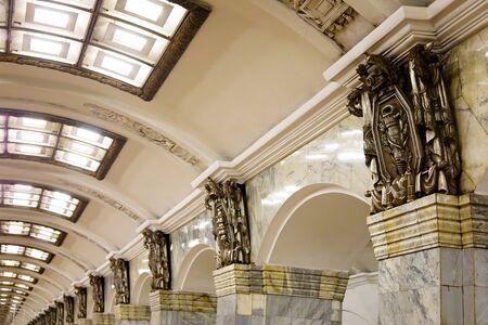 St. Petersburg, Russia - July 8, 2019: Statues in Metrostation Kirovsky Zavod, subway