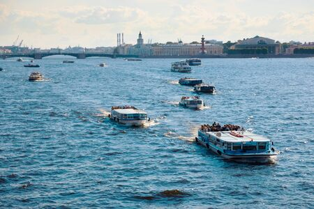 St. Petersburg, Russia - July 7, 2019: Tourist boat traffic on river Neva