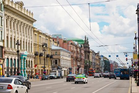 St. Petersburg, Russia - July 8, 2019: Cars on Nevsky prospect, avenue in St. Petersburg