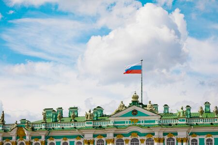 St. Petersburg, Russia - July 8, 2019: Russian flag on Hermitage Museum