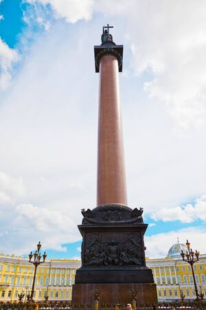 St. Petersburg, Russia - July 8, 2019: Alexander Column and Empire-style Building of the General Staff on Palace Square
