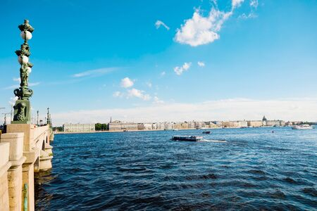 St. Petersburg, Russia - July 7, 2019: View on Neva River from Trinity bridge Редакционное