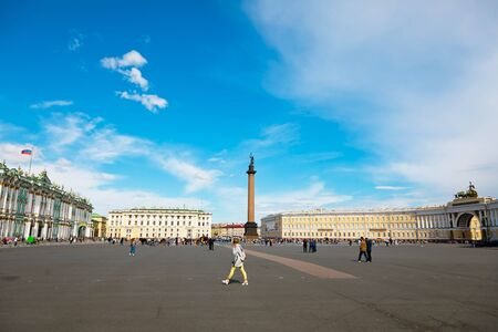 St. Petersburg, Russia - July 8, 2019: Alexander Column on Palace Square