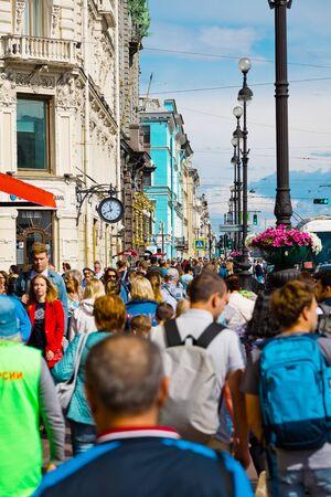 St. Petersburg, Russia - July 8, 2019: People walking on Nevsky Prospect, summer day