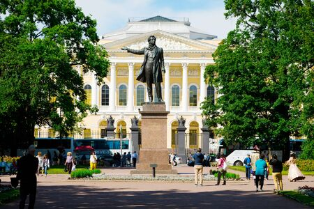 St. Petersburg, Russia - July 8, 2019: Monument to the russian poet Alexander Pushkin on Arts Square Редакционное
