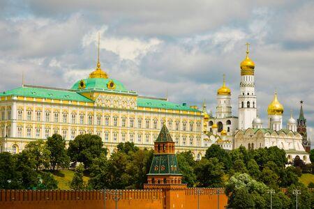 Tserkov Rozhdestva Presvyatoy Bogoroditsy and Cathedral of the Annunciation within Kremlin areal Stock Photo