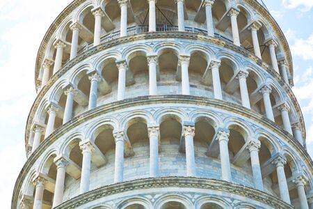 Close view on leaning tower of Pisa in Italy